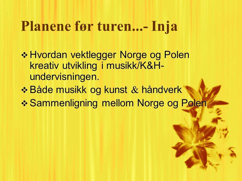 Planene før turen...- Inja  Hvordan vektlegger Norge og Polen kreativ utvikling i musikk/K&H- undervisningen.