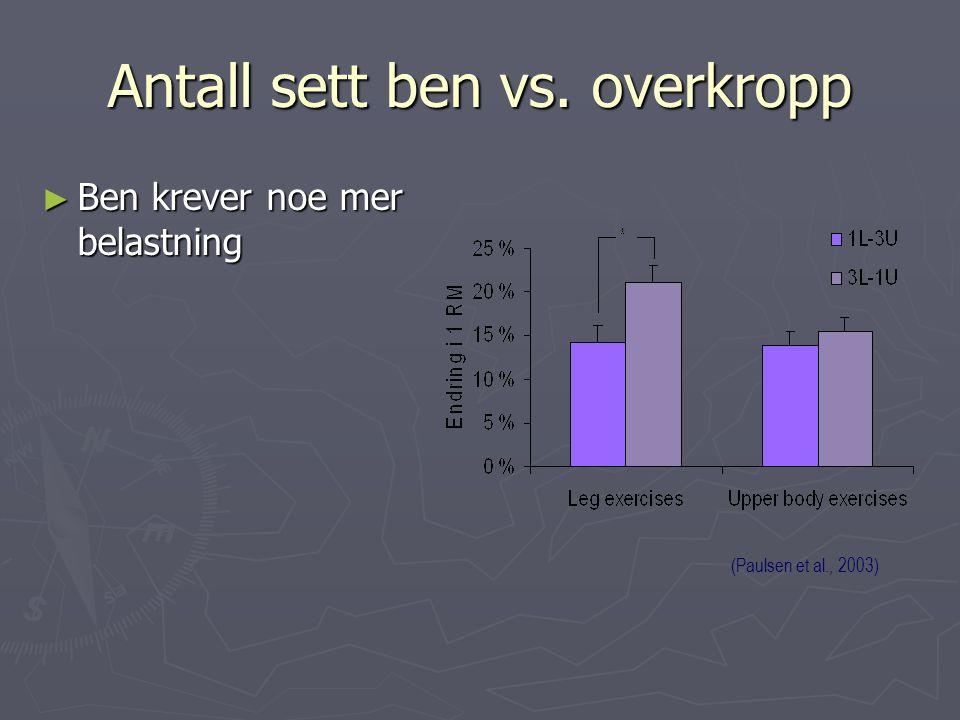 Antall sett ben vs. overkropp ► Ben krever noe mer belastning (Paulsen et al., 2003)