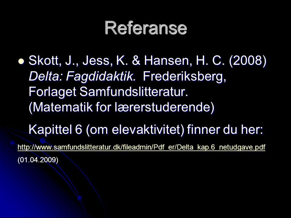 Referanse Skott, J., Jess, K. & Hansen, H. C. (2008) Delta: Fagdidaktik. Frederiksberg, Forlaget Samfundslitteratur. (Matematik for lærerstuderende) S