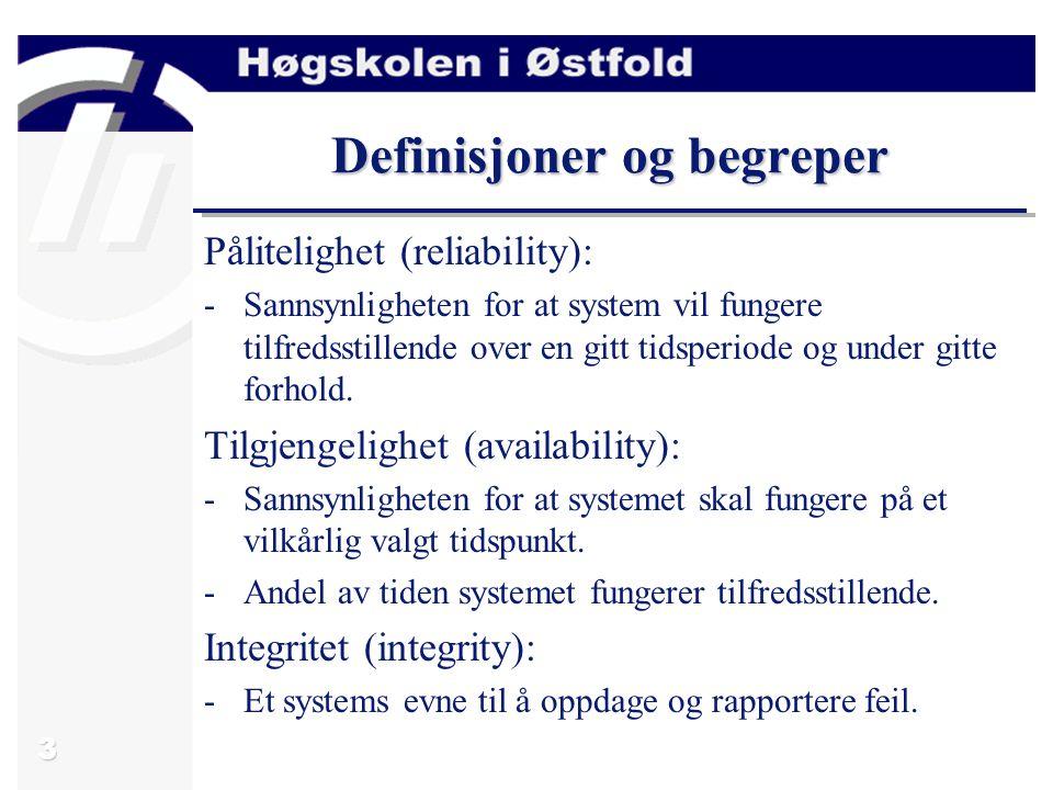 3 Definisjoner og begreper Pålitelighet (reliability): -Sannsynligheten for at system vil fungere tilfredsstillende over en gitt tidsperiode og under gitte forhold.