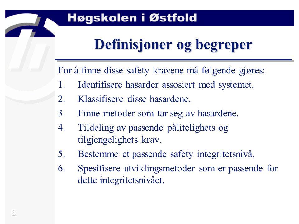 6 Definisjoner og begreper For å finne disse safety kravene må følgende gjøres: 1.Identifisere hasarder assosiert med systemet.