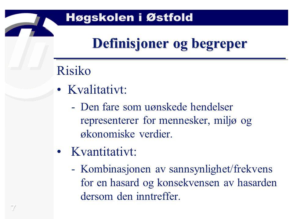 8 Definisjoner og begreper Feiltyper Fault: -Defekt i et system (SW, HW, design).