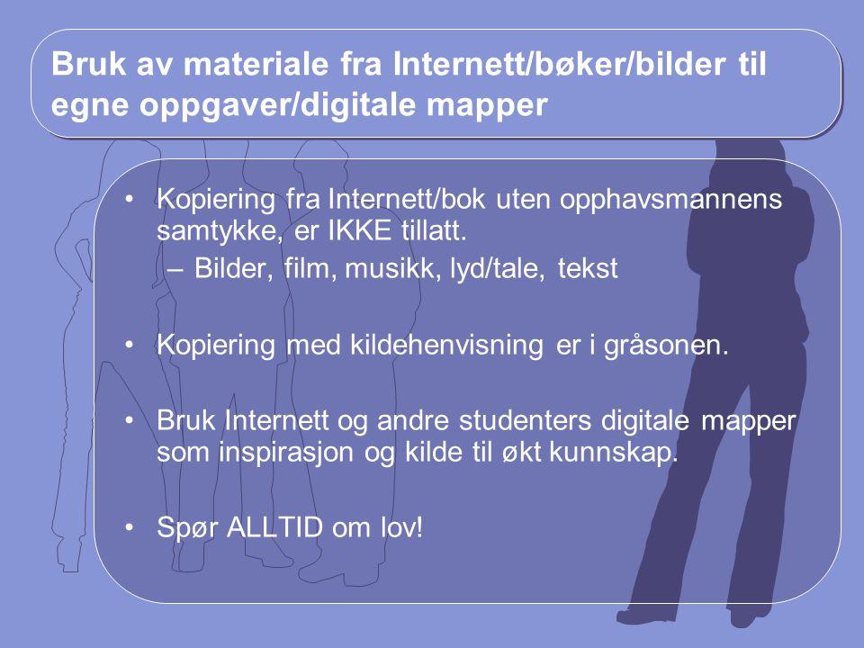 Bruk av materiale fra Internett/bøker/bilder til egne oppgaver/digitale mapper Kopiering fra Internett/bok uten opphavsmannens samtykke, er IKKE tilla