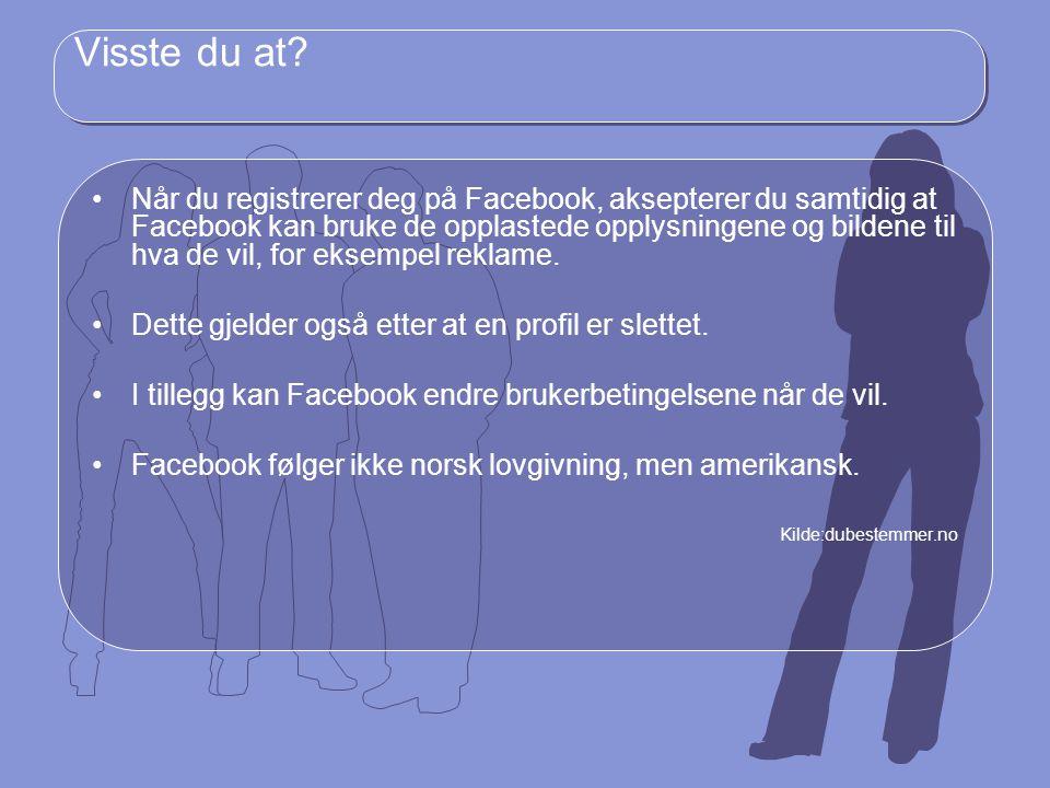 Visste du at? Når du registrerer deg på Facebook, aksepterer du samtidig at Facebook kan bruke de opplastede opplysningene og bildene til hva de vil,