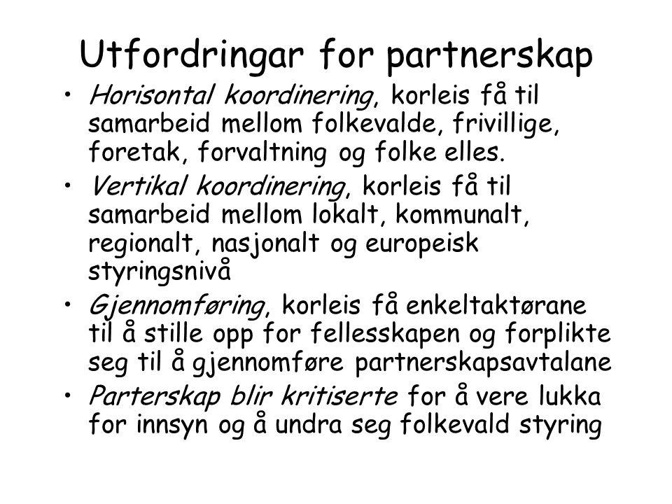Utfordringar for partnerskap Horisontal koordinering, korleis få til samarbeid mellom folkevalde, frivillige, foretak, forvaltning og folke elles. Ver