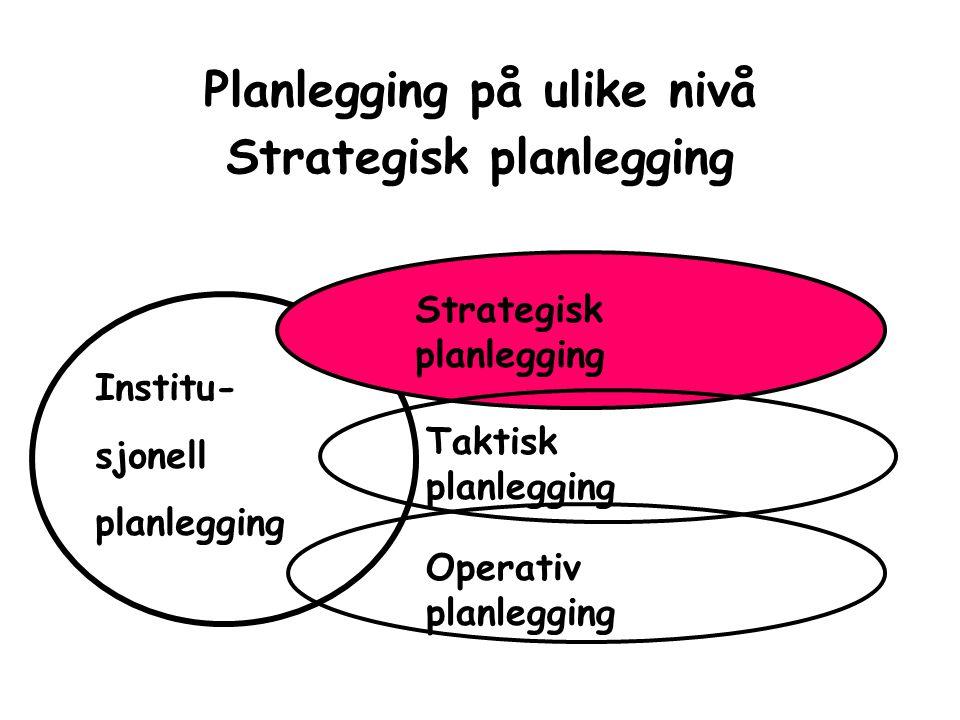 Planlegging på ulike nivå Strategisk planlegging Strategisk planlegging Taktisk planlegging Operativ planlegging Institu- sjonell planlegging