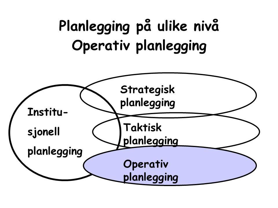 Planlegging på ulike nivå Operativ planlegging Strategisk planlegging Taktisk planlegging Operativ planlegging Institu- sjonell planlegging
