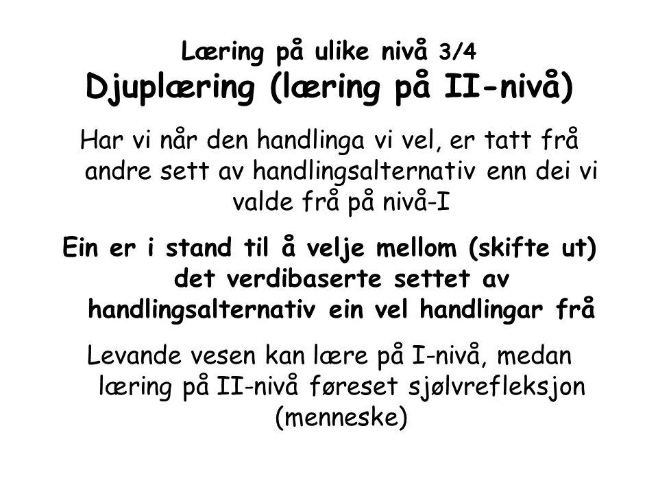 Læring på ulike nivå 3/4 Djuplæring (læring på II-nivå) Har vi når den handlinga vi vel, er tatt frå andre sett av handlingsalternativ enn dei vi vald