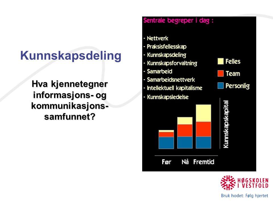 Kunnskapsdeling Hva kjennetegner informasjons- og kommunikasjons- samfunnet?