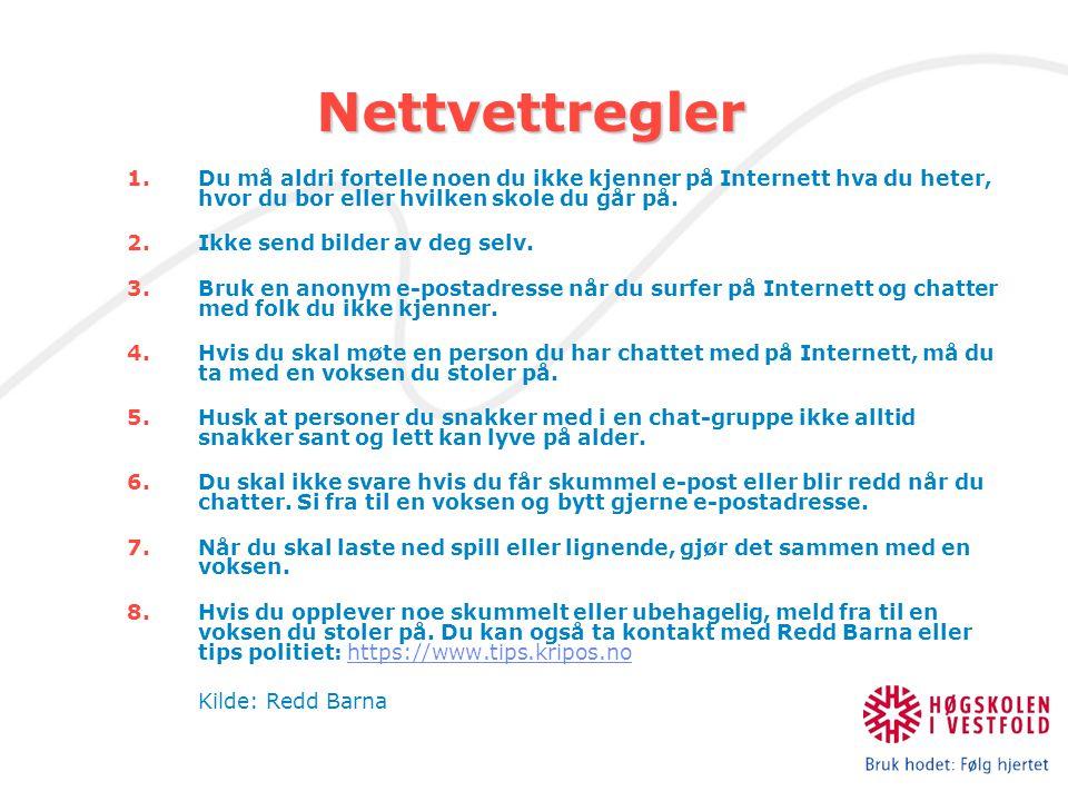 Nettvettregler Nettvettregler 1.Du må aldri fortelle noen du ikke kjenner på Internett hva du heter, hvor du bor eller hvilken skole du går på. 2.Ikke