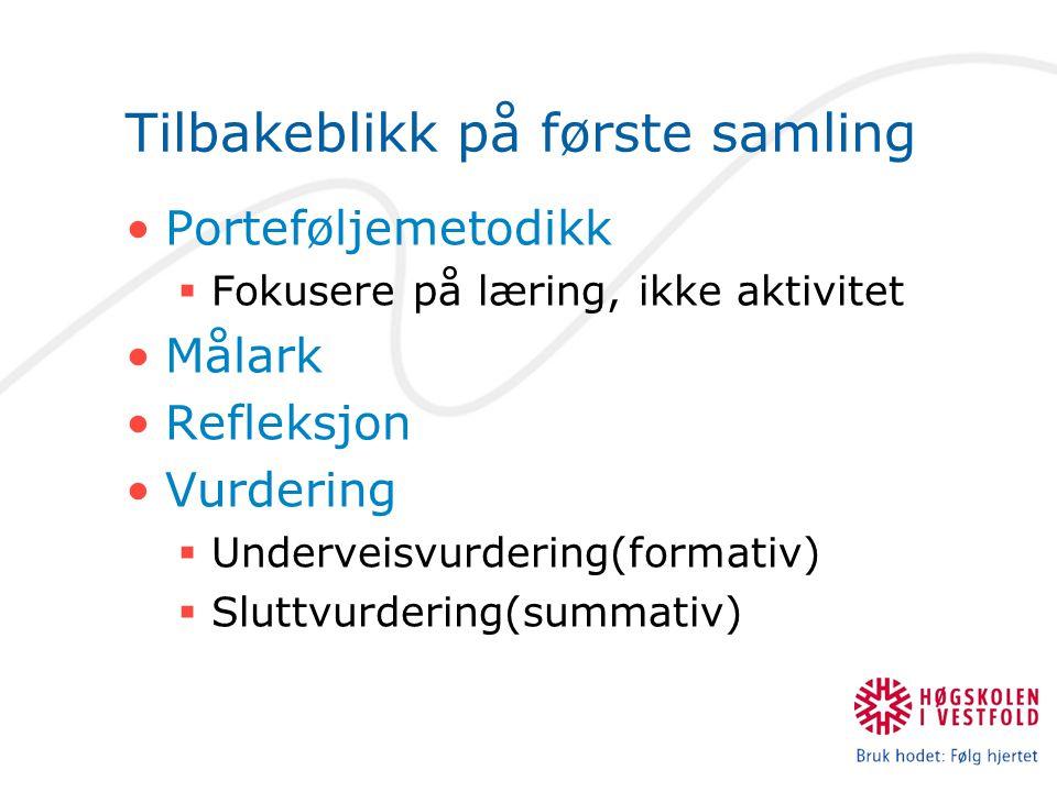 Tilbakeblikk på første samling Porteføljemetodikk  Fokusere på læring, ikke aktivitet Målark Refleksjon Vurdering  Underveisvurdering(formativ)  Sluttvurdering(summativ)