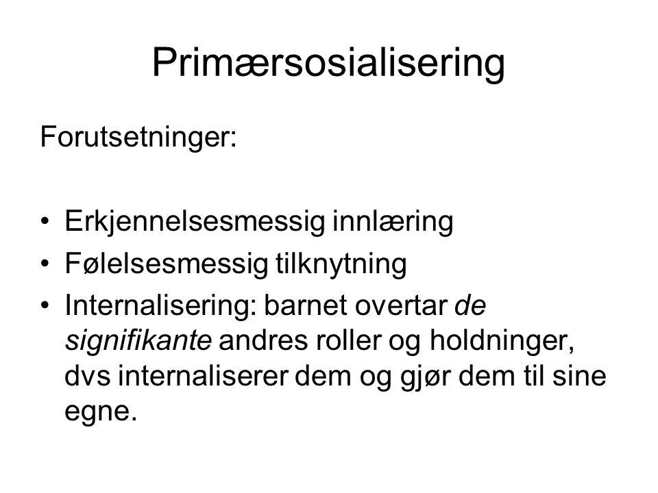 Primærsosialisering Tre sentrale begreper: Eksternalisering: (menneskelig akt.