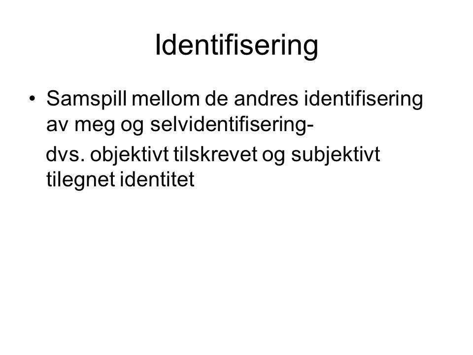 Oppsummering Kopling begrepene sosialisering og identitet.