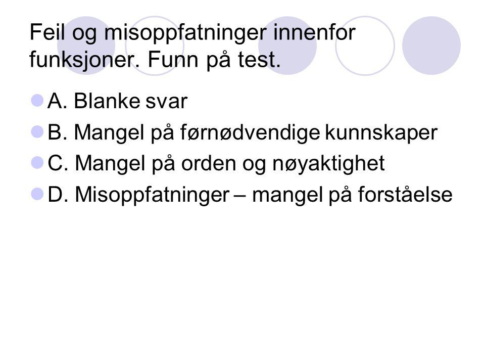 Feil og misoppfatninger innenfor funksjoner. Funn på test. A. Blanke svar B. Mangel på førnødvendige kunnskaper C. Mangel på orden og nøyaktighet D. M