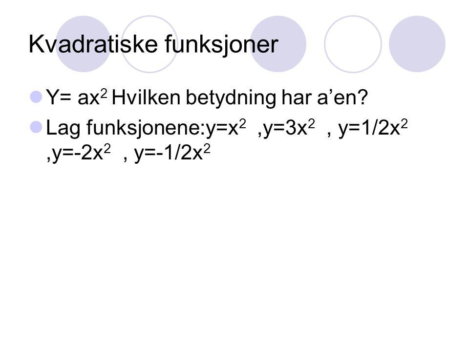 Kvadratiske funksjoner Y= ax 2 Hvilken betydning har a'en? Lag funksjonene:y=x 2,y=3x 2, y=1/2x 2,y=-2x 2, y=-1/2x 2