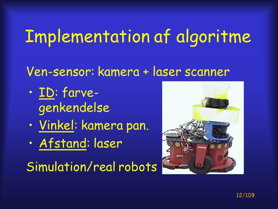 12/109 Implementation af algoritme ID: farve- genkendelse Vinkel: kamera pan.