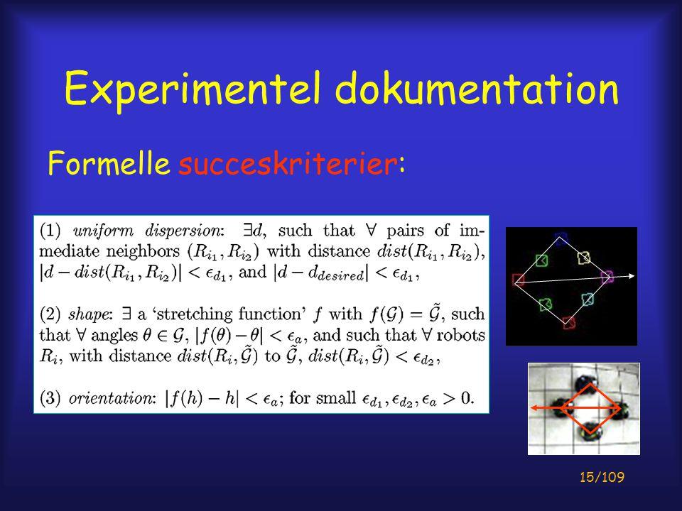 15/109 Experimentel dokumentation Formelle succeskriterier: