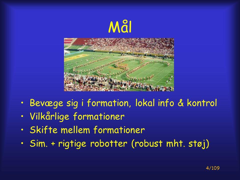 4/109 Mål Bevæge sig i formation, lokal info & kontrol Vilkårlige formationer Skifte mellem formationer Sim.