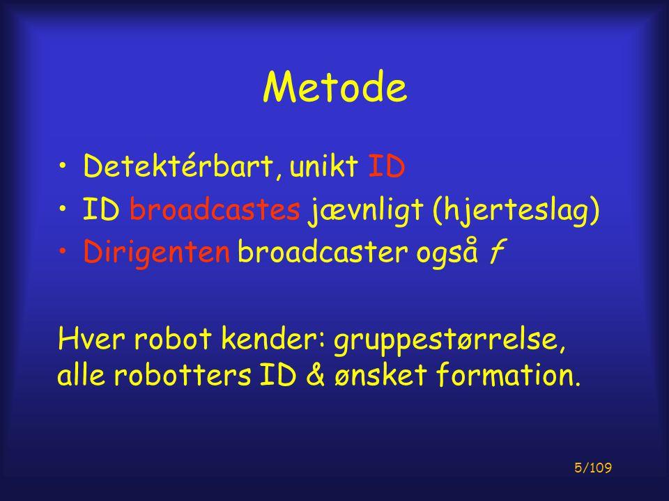5/109 Metode Detektérbart, unikt ID ID broadcastes jævnligt (hjerteslag) Dirigenten broadcaster også f Hver robot kender: gruppestørrelse, alle robotters ID & ønsket formation.
