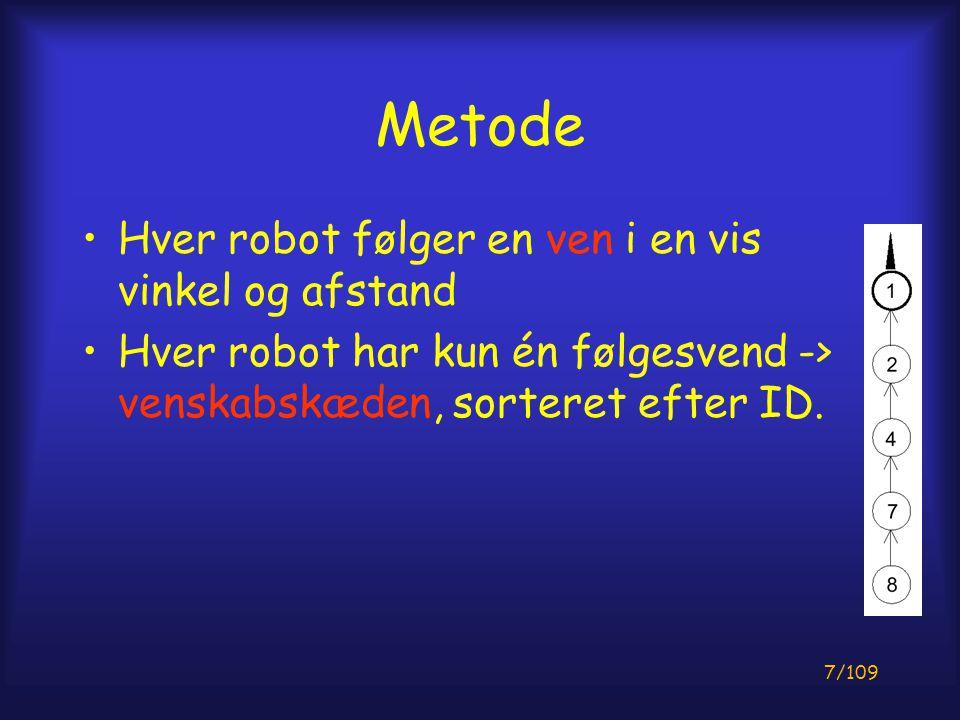 7/109 Metode Hver robot følger en ven i en vis vinkel og afstand Hver robot har kun én følgesvend -> venskabskæden, sorteret efter ID.