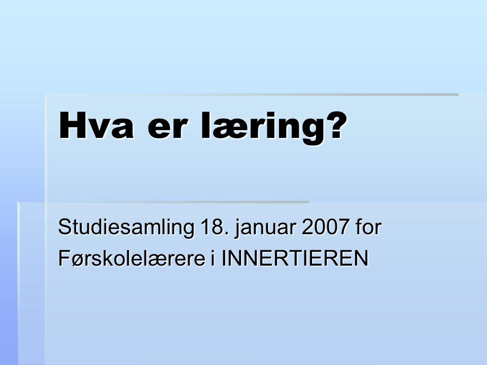 Hva er læring? Studiesamling 18. januar 2007 for Førskolelærere i INNERTIEREN