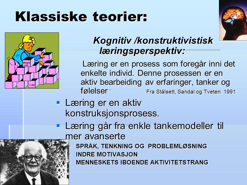 Klassiske teorier: Kognitiv /konstruktivistisk læringsperspektiv: Læring er en prosess som foregår inni det enkelte individ.