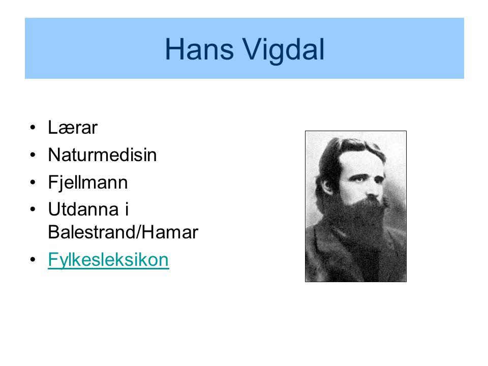Hans Vigdal Lærar Naturmedisin Fjellmann Utdanna i Balestrand/Hamar Fylkesleksikon