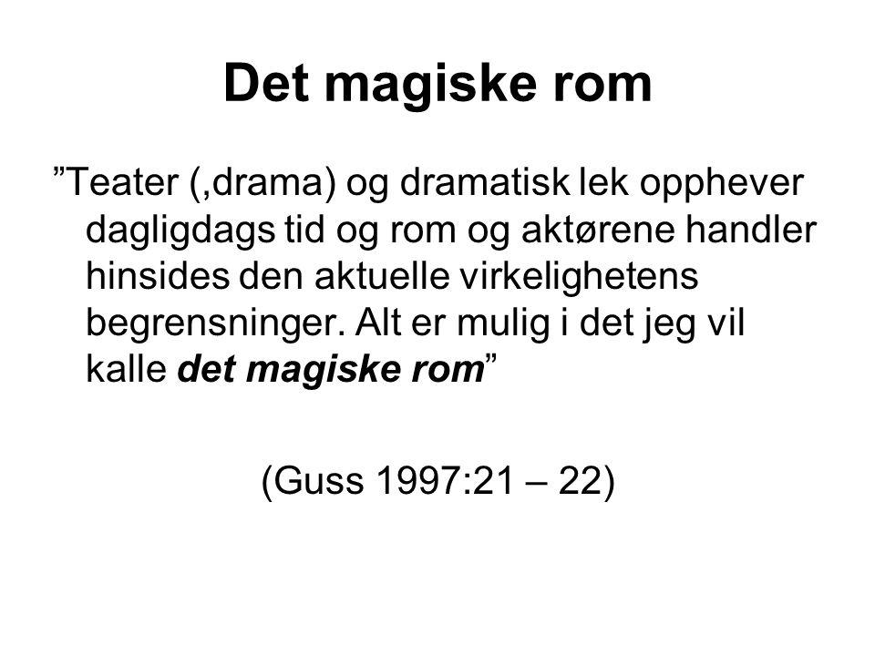 """Det magiske rom """"Teater (,drama) og dramatisk lek opphever dagligdags tid og rom og aktørene handler hinsides den aktuelle virkelighetens begrensninge"""