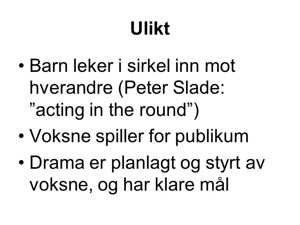 """Ulikt Barn leker i sirkel inn mot hverandre (Peter Slade: """"acting in the round"""") Voksne spiller for publikum Drama er planlagt og styrt av voksne, og"""