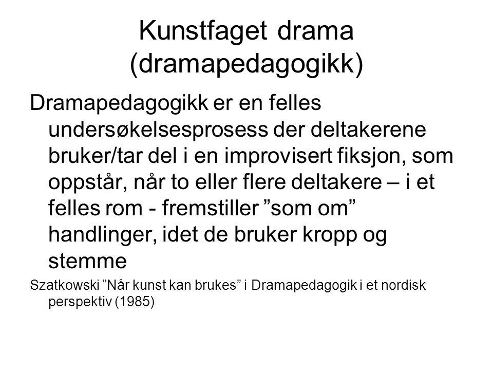 Kunstfaget drama (dramapedagogikk) Dramapedagogikk er en felles undersøkelsesprosess der deltakerene bruker/tar del i en improvisert fiksjon, som opps