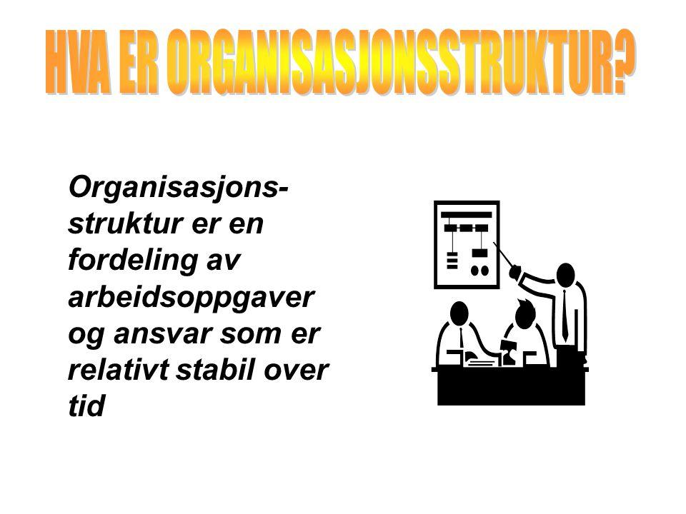 Organisasjons- struktur er en fordeling av arbeidsoppgaver og ansvar som er relativt stabil over tid