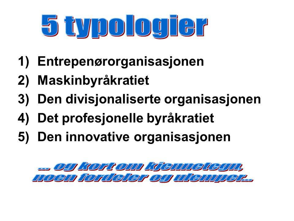 1)Entrepenørorganisasjonen 2)Maskinbyråkratiet 3)Den divisjonaliserte organisasjonen 4)Det profesjonelle byråkratiet 5)Den innovative organisasjonen