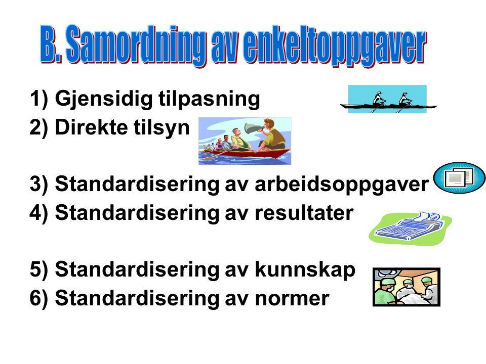 1) Gjensidig tilpasning 2) Direkte tilsyn 3) Standardisering av arbeidsoppgaver 4) Standardisering av resultater 5) Standardisering av kunnskap 6) Standardisering av normer
