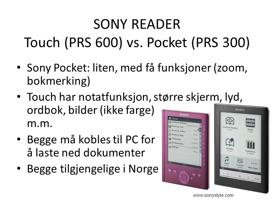 SONY READER Touch (PRS 600) vs.