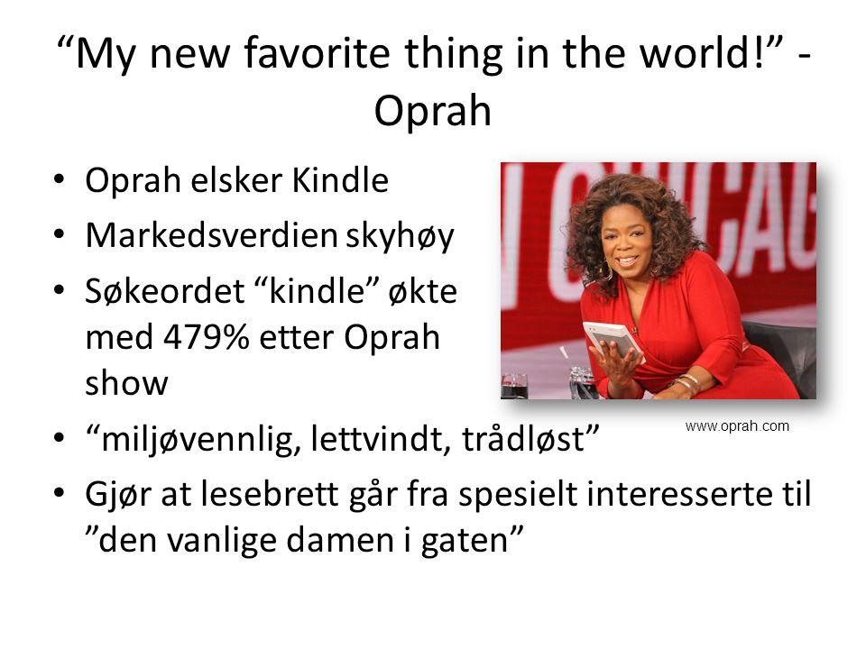 My new favorite thing in the world! - Oprah Oprah elsker Kindle Markedsverdien skyhøy Søkeordet kindle økte med 479% etter Oprah show miljøvennlig, lettvindt, trådløst Gjør at lesebrett går fra spesielt interesserte til den vanlige damen i gaten www.oprah.com