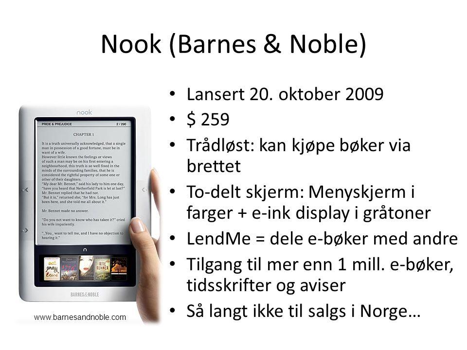 Nook (Barnes & Noble) Lansert 20.