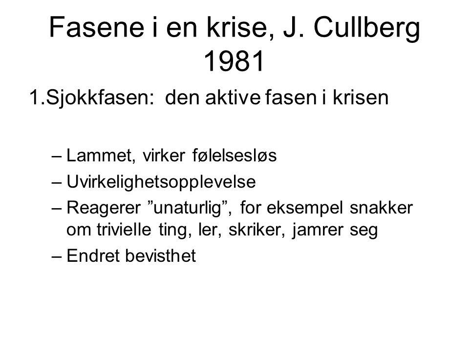 """Fasene i en krise, J. Cullberg 1981 1.Sjokkfasen: den aktive fasen i krisen –Lammet, virker følelsesløs –Uvirkelighetsopplevelse –Reagerer """"unaturlig"""""""