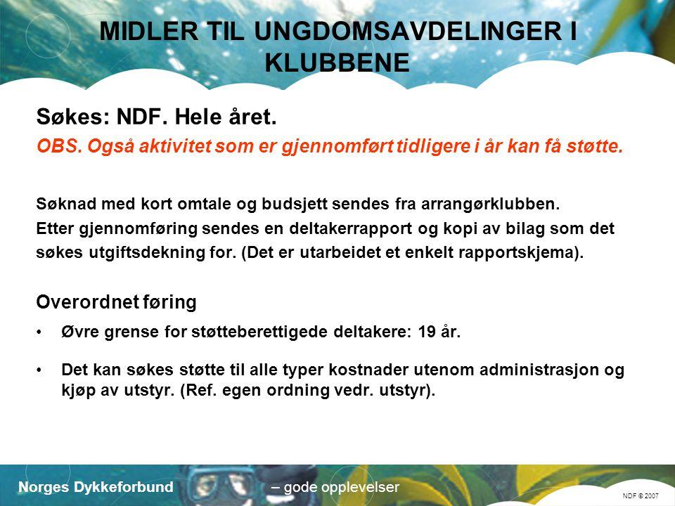 Norges Dykkeforbund NDF © 2007 – gode opplevelser MIDLER TIL UNGDOMSAVDELINGER I KLUBBENE Søkes: NDF.