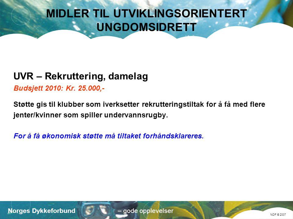 Norges Dykkeforbund NDF © 2007 – gode opplevelser MIDLER TIL UTVIKLINGSORIENTERT UNGDOMSIDRETT UVR – Rekruttering, damelag Budsjett 2010: Kr.