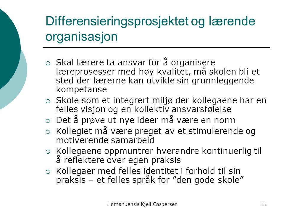 1.amanuensis Kjell Caspersen11 Differensieringsprosjektet og lærende organisasjon  Skal lærere ta ansvar for å organisere læreprosesser med høy kvali