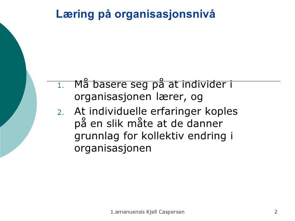 1.amanuensis Kjell Caspersen2 Læring på organisasjonsnivå 1. Må basere seg på at individer i organisasjonen lærer, og 2. At individuelle erfaringer ko