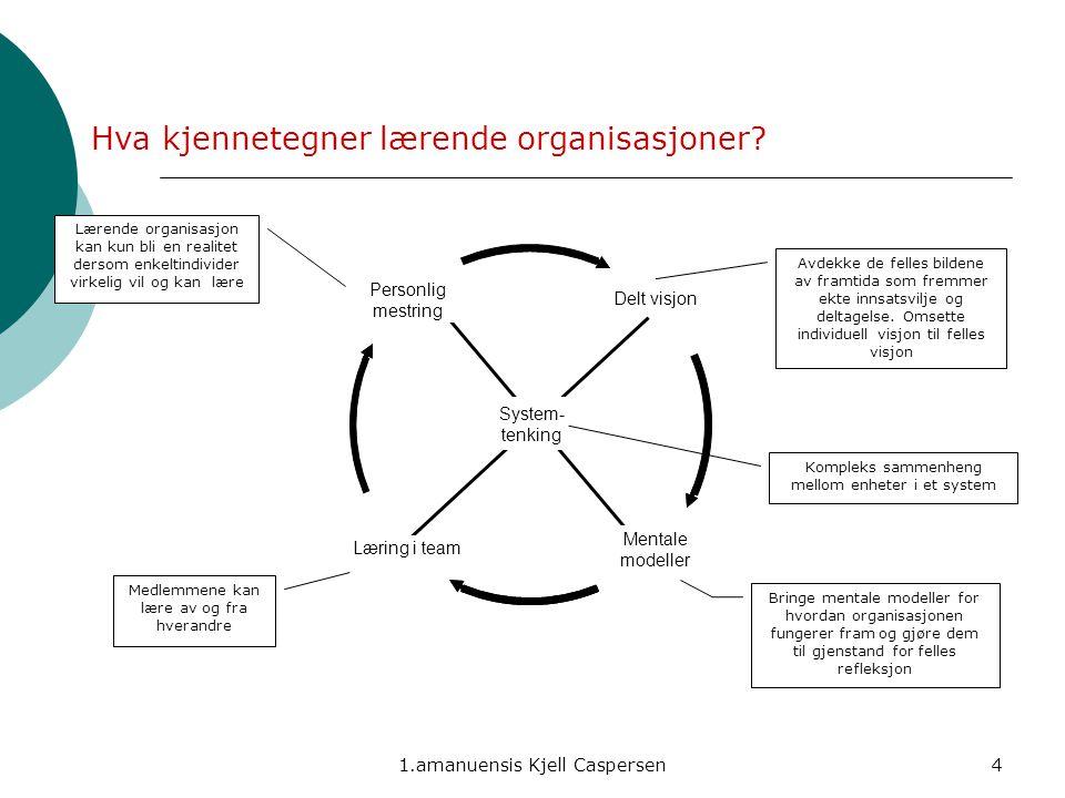 1.amanuensis Kjell Caspersen4 Personlig mestring Mentale modeller Læring i team Delt visjon System- tenking Avdekke de felles bildene av framtida som