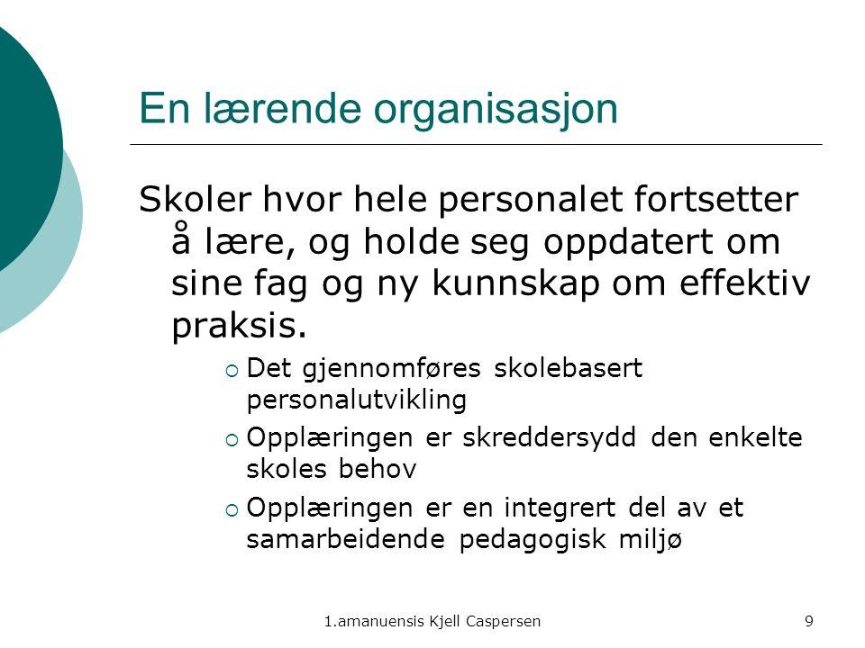 1.amanuensis Kjell Caspersen9 En lærende organisasjon Skoler hvor hele personalet fortsetter å lære, og holde seg oppdatert om sine fag og ny kunnskap