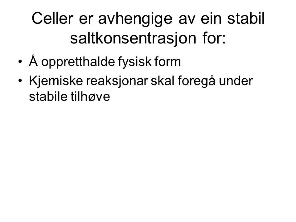 Celler er avhengige av ein stabil saltkonsentrasjon for: Å oppretthalde fysisk form Kjemiske reaksjonar skal foregå under stabile tilhøve