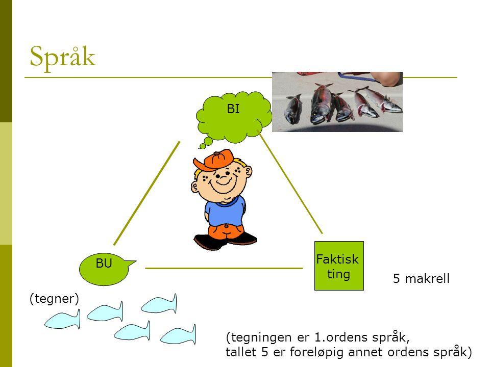 Språk BI BU Faktisk ting 5 makrell (tegner) (tegningen er 1.ordens språk, tallet 5 er foreløpig annet ordens språk)