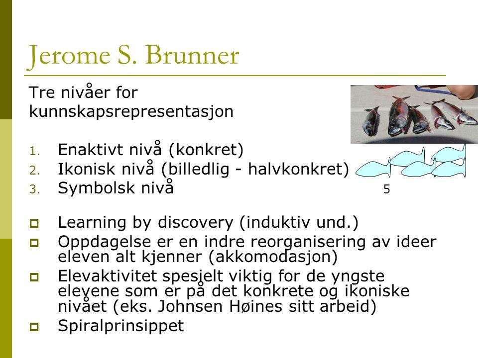 Jerome S. Brunner Tre nivåer for kunnskapsrepresentasjon 1. Enaktivt nivå (konkret) 2. Ikonisk nivå (billedlig - halvkonkret) 3. Symbolsk nivå  Learn