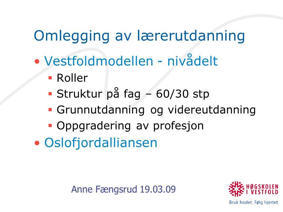 Anne Fængsrud 19.03.09 Omlegging av lærerutdanning Vestfoldmodellen - nivådelt  Roller  Struktur på fag – 60/30 stp  Grunnutdanning og videreutdanning  Oppgradering av profesjon Oslofjordalliansen