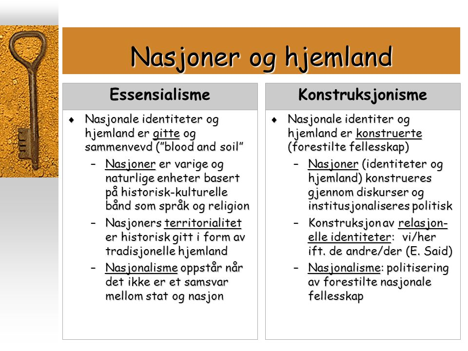 """Nasjoner og hjemland  Nasjonale identiteter og hjemland er gitte og sammenvevd (""""blood and soil"""" –Nasjoner er varige og naturlige enheter basert på h"""