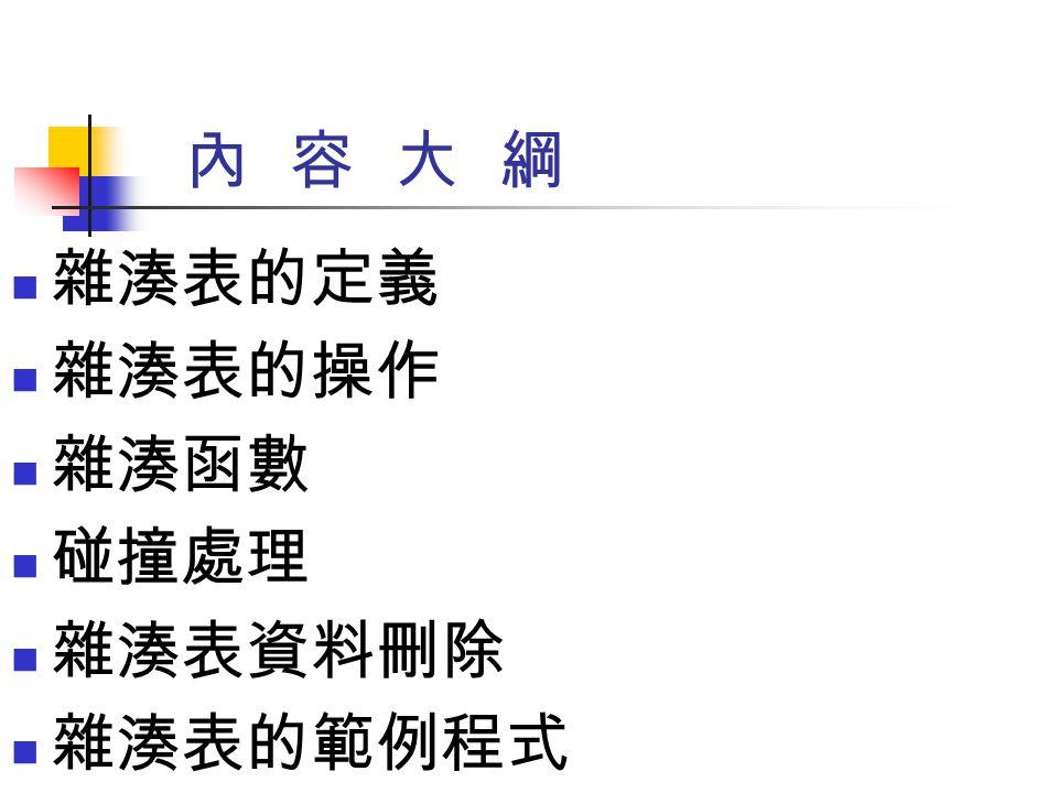 雜湊表的範例程式 (8/11) 23: 雜湊表.