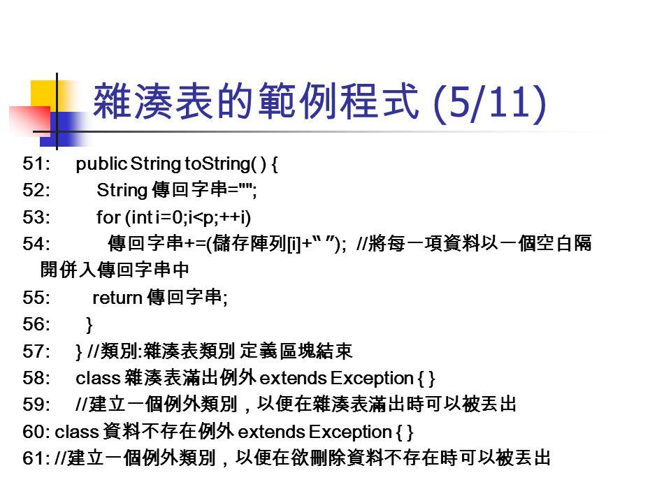 雜湊表的範例程式 (5/11) 51: public String toString( ) { 52: String 傳回字串 =